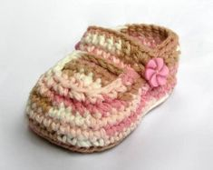 Baby Booties Crochet Pattern Big Flowers Crochet Shoes by ketzl