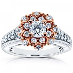 Halo Moissanites Two-tone Gold Round Shaped Flower Unique Lab Grown Diamond Engagement Wedding Rings Fine Jewelry Gifts - Rolandos Gift Shop Unique Diamond Engagement Rings, Vintage Engagement Rings, Flower Engagement Rings, Diamond Rings, Diamond Jewelry, Beaded Jewelry, Gold Rings, Jewelry Gifts, Jewelry Accessories