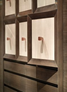 Wimbledon client: interior of walk-in wardrobe #interiorid Square paneled drawers. Bespoke storage. Walnut finish