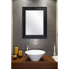 Black 27.5 x 21.5 inch Beveled Bathroom Mirror with Wall Hangers