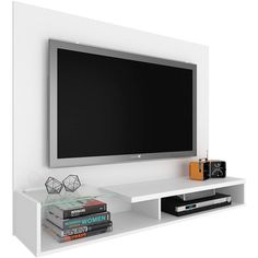 "Foto 1 - Painel para TV Até 55"" Corsa Branco - Madetec Corso, Living Room Tv Unit Designs, Flat Screen, Sweet Home, The Unit, 1, Home Decor, Tech, Black"