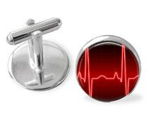 HEART Rhythm  Cufflinks / EKG Cuff Links / Gift for Doctor / EMS gift / 2 Sizes / Cuff Links / Medical Worker gift / Gift boxed