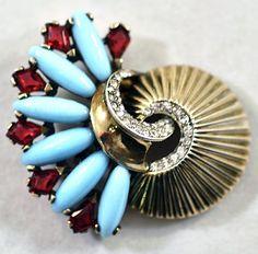 ca 1944-1949 Boucher Sterling Silver Phrygian Cap Rhinestone Fan Fur Clip 325