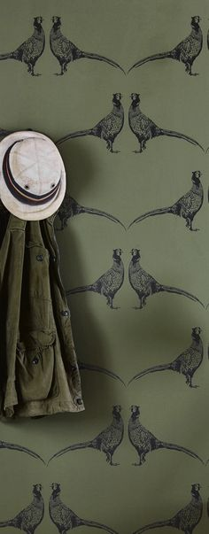 pheasant wallpaper in deep green and black from Barneby Gates