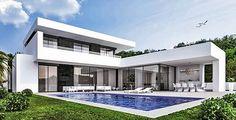 Huizen Huis te koop Spanje - moderne villa costa blanca en Costa del Sol Modern Architecture House, Architecture Design, Modern Villa Design, Courtyard House, Spanish House, Mansions Homes, Sims House, Modern House Plans, Building A House