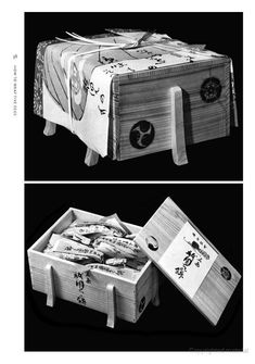 """Wooden box filled with mochi by Michikazu Sakai 
