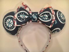 Seattle Mariners themed Minnie Mouse ears by SallysEnchantingEars