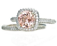 Platinum Morganite Wedding Set Diamond Halo Morganite by RareEarth, $3,293.00 // omg this is IT! when that day should arrive, I mean... lol