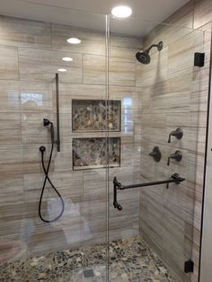 Lodge Bathroom with river rock and agate mix shower floor