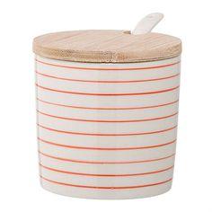Ceramic Susie Jar w/ Bamboo Lid & Spoon, Set of 2 by Bloomingville