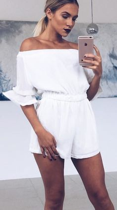 #summer #outfits White Off The Shoulder Romper