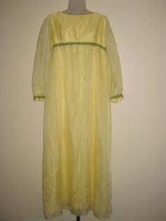 Vintage 1960s Empire Waisted Prom Dress / Gown - with Swiss Dot Skirting   Auction starts at $0.99!