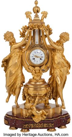 A Lemerle Charpentier & Cie French Gilt Bronze Figural Mantle Clock & Thermometer, circa 1855 Marks - Available at 2016 February 20 - 22 Fine &. Antique Wall Clocks, Old Clocks, Clock Art, Desk Clock, Bronze, Classic Clocks, Retro Clock, Wall Clock Online, Mantel Clocks