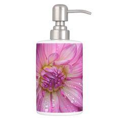 Two pink dahlia flowers bath set