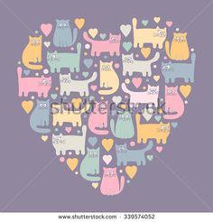 Cats Cute Vetores e Vetores clipart Stock | Shutterstock