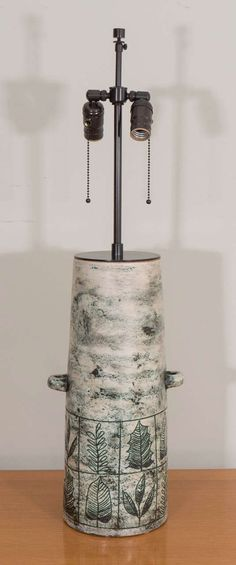 Jacques Blin; Glazed Ceramic Table Lamp, 1950s.