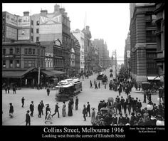 Collins Street looking West from Elizabeth Street, Melbourne On R is Colonial Mutual Life Building (demolished Melbourne Street, Melbourne Cbd, Melbourne Victoria, Victoria Australia, Melbourne Australia, Melbourne Suburbs, Elizabeth Street, World Images, Historical Photos