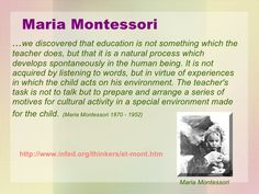Quotes by Dr Maria Montessori for teachers - Google Search