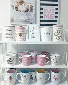 My favorite spot in the kitchen: a part of my mugs collection. Yes, I have more mugs . Coffee Jars, Coffee Bar Home, Cute Coffee Mugs, Coffee Corner, Cute Kitchen, Kitchen Decor, Deco Tumblr, Pretty Mugs, Room Design Bedroom