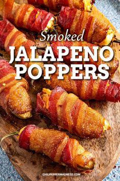 Traeger Recipes, Smoked Meat Recipes, Smoked Bacon, Grilling Recipes, Bacon Recipes, Smoked Jalapeno Poppers Recipe, Jalapeno Popper Recipes, Bacon Wrapped Jalapeno Poppers, Stuffed Jalapeno Peppers