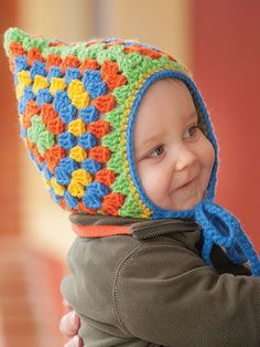 Crochet a kids Granny square hat pattern