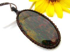 Bloodstone Necklace / Indian Bloodstone / Octobe finds / jewelry / Healing Gemstone Jewelry / March birthstone / Healing gift / Macrame