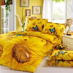 Yellow Sunflower Bedding Set Queen Size Cotton Home Textile Oil painting Flowers BedclothesDuvet Cover Bed Sheet