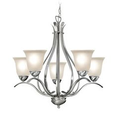 @Overstock - Fixture finish: Satin nickel  Shades: Frosted seedy glass   Requires five (5) 60-watt max medium base bulbs (not included) http://www.overstock.com/Home-Garden/Woodbridge-Lighting-Beaconsfield-5-light-Satin-Nickel-Chandelier/6265283/product.html?CID=214117 Add to cart to see special price