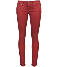 PAIGE Verdugo ultra skinny jean ($179) ❤ liked on Polyvore featuring jeans, pants, bottoms, calças, pantalones, paige denim, paige denim jeans, button-fly jeans, red skinny jeans and skinny fit jeans