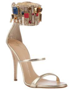 423040b8529c Giuseppe  Zanotti Design Embellished Cuff Leather Sandals  Shoes  Heels   Jewels Shoes Sandals