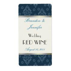 Teal Damask Wedding Mini Wine Labels