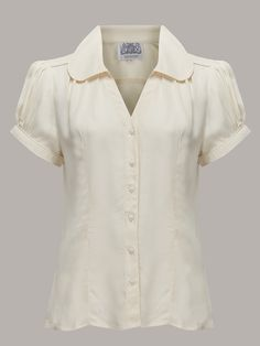 "The 1940s Vintage Inspired ""Judy"" Blouse in Cream by The Seamstress Of Bloomsbury"