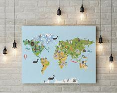 Large Canvas Prints Modern Wall Art for Home & by WALLARTSDECOR Unique Wall Art, Modern Wall Art, Large Wall Art, Canvas Wall Decor, Canvas Art, Baby Name Art, Kids World Map, Kindergarten, Sunset Canvas