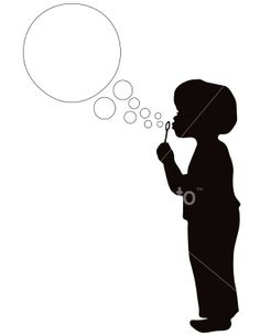 Boy Blowing Bubbles in silhouette Royalty Free Stock Vector Art Illustration
