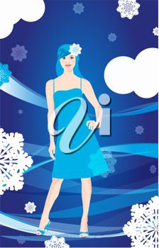 iCLIPART - beautiful girl over winter background