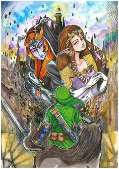 This+is+a+a4++marker+and+water+colour+++original+which+is+a+tribute+piece+to+the++game+twilight+princess.  This+is+Completely+one+of+a+kind+and+the+only+one+i+will+create.+    Original+artwork+will+never+be+re-created,+so+you+can+be+sure+that+the+work+you+buy+is+totally+unique+and+one+of+a+kind!