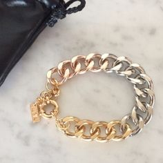 Luv AJ Ombré chain bracelet Super chic! New eye catching ombre bracelet. Mix of silver, rose gold, and gold plating with adjustable length, lobster clasp closure. No trades. Brand new in pouch. Lowest. LuvAJ Jewelry Bracelets