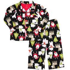 Christmas pjs  Too cute!!!!!2-Piece Button-Front Fleece PJ's