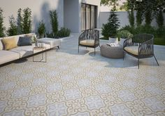 Looking for some unique outside tile ideas? Check out our Casablanca 8x8 Glazed Ceramic Patterned Tile in Fond. It has a European feel and uses classic geometric shapes and patterns. Casablanca pays tribute to encaustic tiles while adding a modern twist. It starts at $4.50 SQ FT.