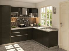 L-Shaped Malta Modular Kitchen on CapriCoast is fulfilled by SpaceWood and comes with MDF cabinets, MDF shutter core and Membrane Matte finish in Irish Creame
