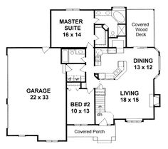 First Floor Plan of Traditional House Plan 62612