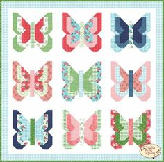 Social Butterfly - Pattern by Lella Boutique Fat Quarter friendly pattern! Finished Quilt Size: x Finished Block Size: x Materials Needed 18 fat quarters yards background fabric yards border fabric yard binding fabric yards backing fabric x cotton batting Patch Quilt, Applique Quilts, Quilt Blocks, Children's Quilts, Strip Quilts, Patchwork Quilting, Barn Quilts, Butterfly Quilt Pattern, Pattern Paper