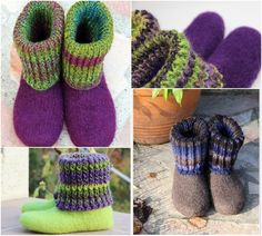 Felt Boots / Slippers with Turtleneck Knitting pattern by Knitwork By Ina Felt Booties, Felt Shoes, Felted Slippers Pattern, Knitted Slippers, Purl Stitch, Lang Yarns, Slipper Boots, Paintbox Yarn, Red Heart Yarn