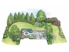 English Cottage Garden - Cozy Spaces Landscape from Eplans - House Plan Code HWEPL11449