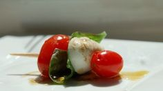 A great way to serve caprese salad as an appetizer!