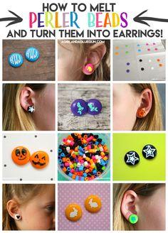 Melt perler beads into earrings! - A girl and a glue gun