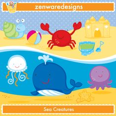 cute ocean animal stamps and digital stamps.