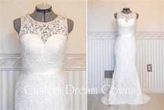 Custom Dream Gowns | Wedding Dresses & Bridal Gowns <3 Gorgeous Lace Fitted Sheath Gown with Beaded Scoop Neckline Over Sweetheart Interior, Beaded Tank Straps, Fitted Bodice with Satin Natural Waist Band, Sheath Skirt, Chapel Train, Lace Covered High Back with Beaded Backline and Covered Buttons Over Hidden Zipper Closure. #bridalgown #customweddingdress #laceweddingdress #springwedding #sheathweddingdress #couturedress #fashion #style #wedding #weddingdress #dreamdress #chapel…