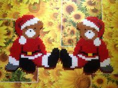 Christmas teddies hama perler beads by cathy077