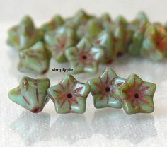 Green Turquoise Picasso Flower Cup 20 Pcs Czech Glass by simplypie